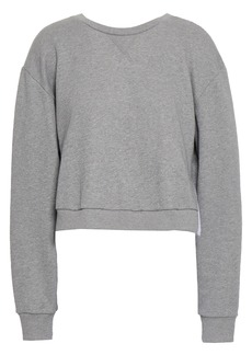 3.1 Phillip Lim Woman Cropped French Cotton-terry And Ruffled Poplin Sweatshirt Gray