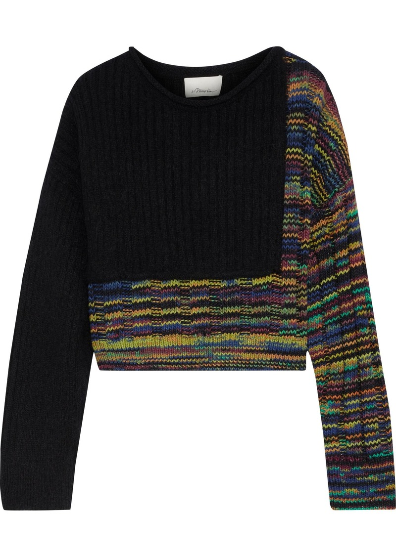 3.1 Phillip Lim Woman Cropped Paneled Mélange Ribbed-knit Sweater Black