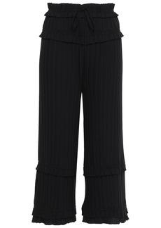3.1 Phillip Lim Woman Cropped Pleated Crepe Wide-leg Pants Black