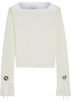 3.1 Phillip Lim Woman Cropped Poplin-paneled Embellished Ribbed-knit Top Off-white