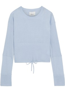 3.1 Phillip Lim Woman Cropped Ribbed Cashmere-blend Sweater Light Blue