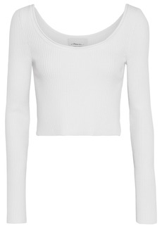 3.1 Phillip Lim Woman Cropped Ribbed Wool-blend Top White