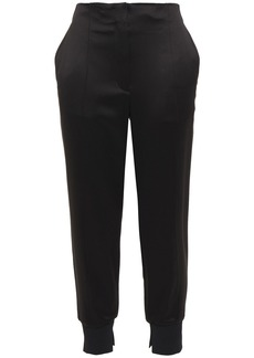 3.1 Phillip Lim Woman Cropped Satin Tapered Pants Black