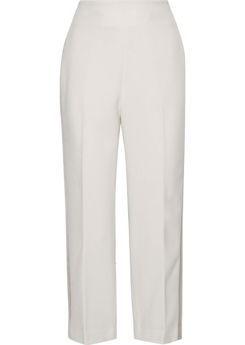 3.1 Phillip Lim Woman Cropped Satin-trimmed Crepe Straight-leg Pants Ivory