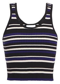 3.1 Phillip Lim Woman Cropped Striped Ribbed-knit Tank Royal Blue
