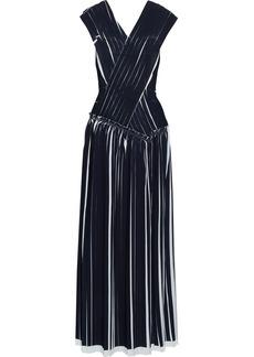 3.1 Phillip Lim Woman Crossover Pleated Crepe Maxi Dress Midnight Blue