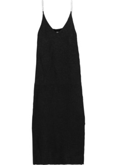 3.1 Phillip Lim Woman Crystal-embellished Brushed Stretch-knit Midi Slip Dress Black
