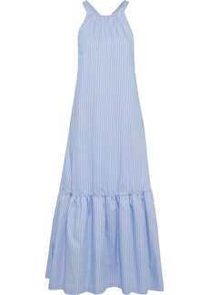 3.1 Phillip Lim Woman Cutout Gathered Striped Cotton-blend Poplin Maxi Dress Light Blue