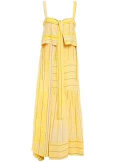 3.1 Phillip Lim Woman Cutout Layered Striped Crepe Maxi Dress Yellow