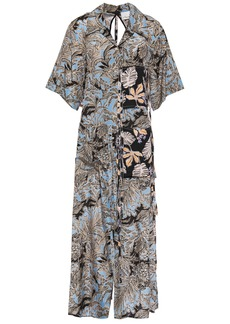 3.1 Phillip Lim Woman Cutout Patchwork Printed Silk-crepe And Woven Shirt Light Blue