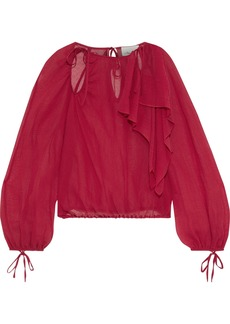 3.1 Phillip Lim Woman Cutout Ruffled Crinkled Cotton And Silk-blend Blouse Claret