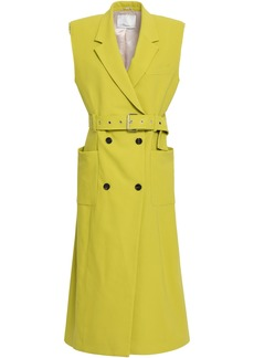 3.1 Phillip Lim Woman Double-breasted Cotton-blend Crepe Gilet Lime Green