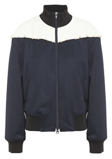 3.1 Phillip Lim Woman Faux Pearl-embellished Jersey Track Jacket Midnight Blue