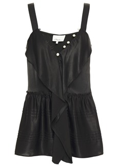 3.1 Phillip Lim Woman Faux Pearl-embellished Ruffled Satin-crepe Camisole Black