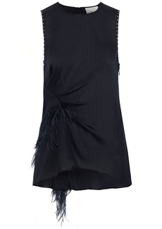 3.1 Phillip Lim Woman Feather-trimmed Studded Silk Crepe De Chine Top Midnight Blue
