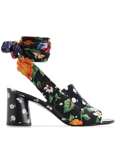 3.1 Phillip Lim Woman Floral-print Silk And Leather Sandals Black