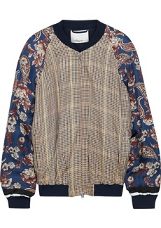 3.1 Phillip Lim Woman Floral-print Twill-paneled Checked Satin Bomber Jacket Sand
