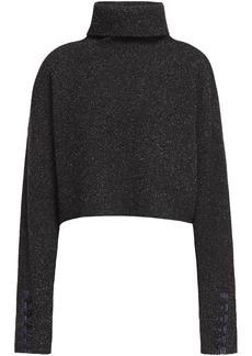3.1 Phillip Lim Woman Folk Cropped Bouclé-knit Wool-blend Turtleneck Sweater Black