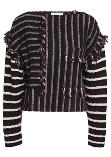 3.1 Phillip Lim Woman Fringe-trimmed Striped Bouclé And Cotton-blend Top Black