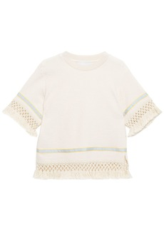 3.1 Phillip Lim Woman Fringed Macramé-trimmed Cotton-terry Top Cream