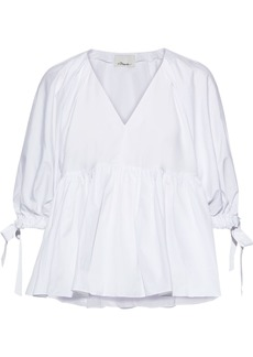 3.1 Phillip Lim Woman Gathered Cotton-poplin Blouse White