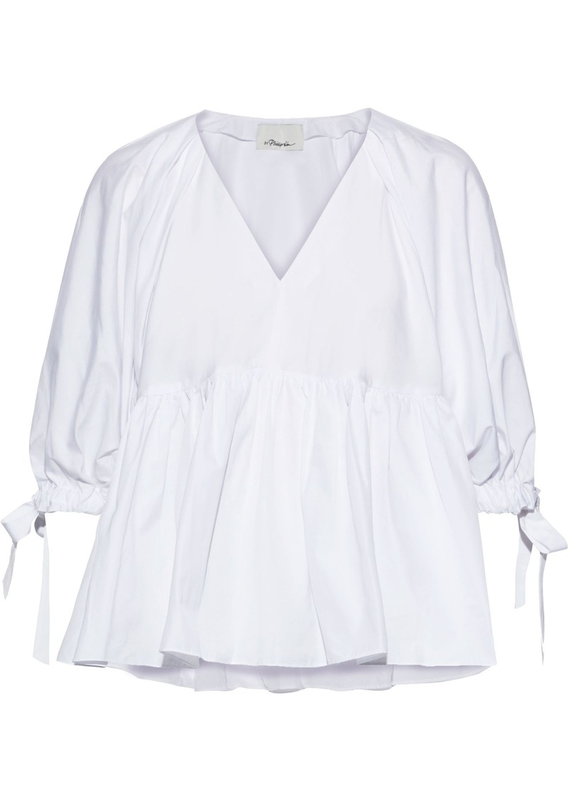 3.1 Phillip Lim Woman Gathered Cotton-poplin Blouse White