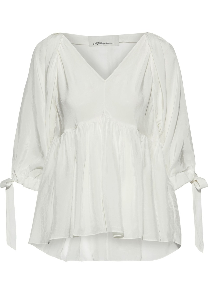 3.1 Phillip Lim Woman Gathered Crinkled-sateen Blouse White