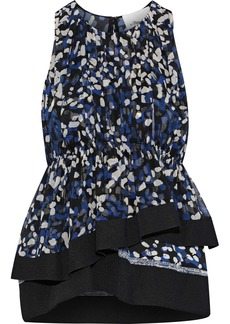 3.1 Phillip Lim Woman Gathered Printed Silk-georgette Peplum Top Navy