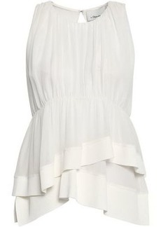 3.1 Phillip Lim Woman Gathered Ribbed Knit-trimmed Silk Crepe De Chine Top White