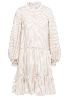 3.1 Phillip Lim Woman Gathered Striped Cotton-blend Poplin Mini Dress Sand