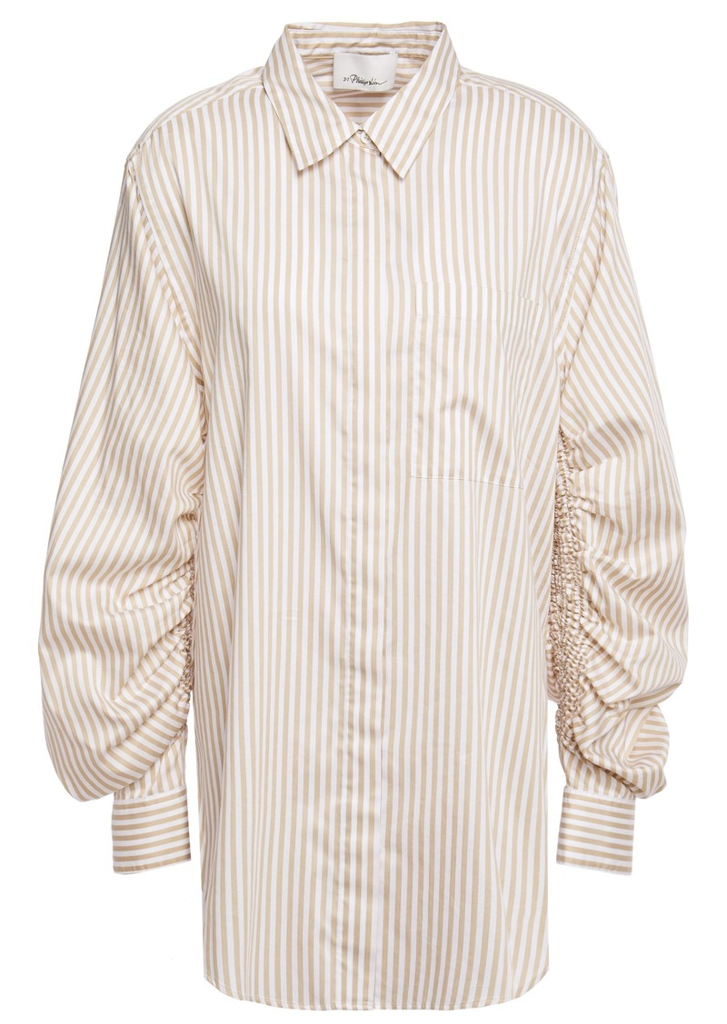 3.1 Phillip Lim Woman Gathered Striped Cotton-blend Twill Shirt Sand