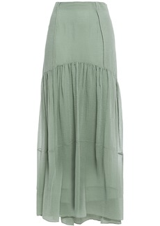 3.1 Phillip Lim Woman Gathered Textured Cotton And Silk-blend Maxi Skirt Grey Green