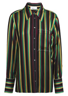 3.1 Phillip Lim Woman Grosgrain-trimmed Striped Satin Shirt Black