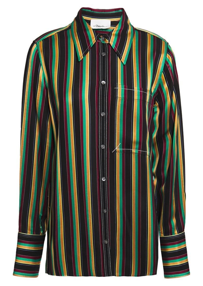 3.1 Phillip Lim Woman Grosgrain-trimmed Striped Satin Shirt Black