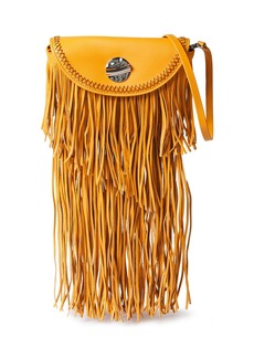 3.1 Phillip Lim Woman Hudson Convertible Fringe-trimmed Leather Sunglasses Case Saffron