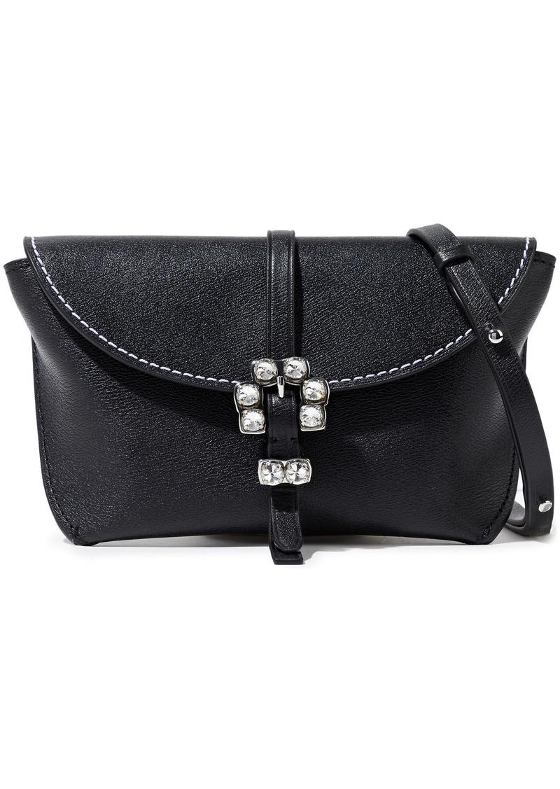 3.1 Phillip Lim Woman Hudson Crystal-embellished Textured-leather Shoulder Bag Black