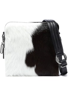 3.1 Phillip Lim Woman Hudson Square Calf-hair And Leather Shoulder Bag Black