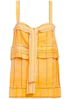 3.1 Phillip Lim Woman Layered Knotted Striped Jacquard Camisole Marigold