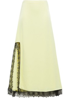 3.1 Phillip Lim Woman Lace-trimmed Satin-crepe Maxi Skirt Pastel Yellow