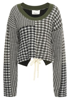 3.1 Phillip Lim Woman Lace-up Patchwork-effect Gingham Knitted Sweater Army Green
