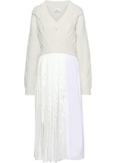 3.1 Phillip Lim Woman Layered Cable-knit Satin And Cotton-poplin Maxi Dress Ivory