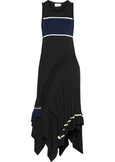 3.1 Phillip Lim Woman Layered Georgette Crepe And Ribbed-knit Midi Dress Black