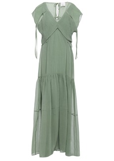 3.1 Phillip Lim Woman Layered Hammered Cotton And Silk-blend Maxi Dress Grey Green