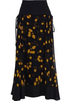 3.1 Phillip Lim Woman Layered Paneled Crepe And Printed Gauze Maxi Skirt Black