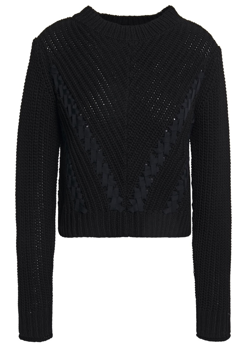 3.1 Phillip Lim Woman Ls Cropped Grosgrain-trimmed Ribbed Cotton Sweater Black