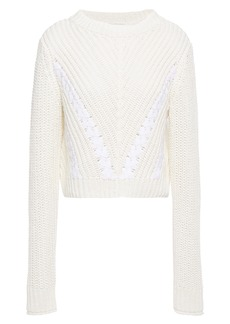 3.1 Phillip Lim Woman Ls Cropped Grosgrain-trimmed Ribbed Cotton Sweater White