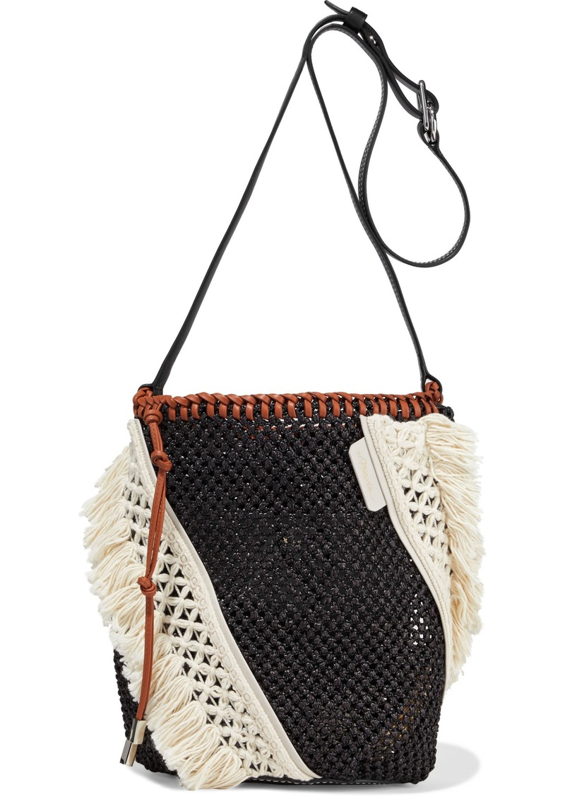 3.1 Phillip Lim Woman Marlee Mini Macramé-paneled Woven Shoulder Bag Black