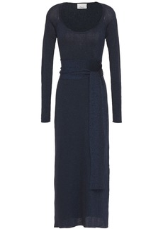 3.1 Phillip Lim Woman Belted Metallic Ribbed-knit Midi Dress Navy