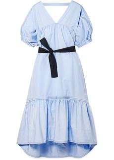 3.1 Phillip Lim Woman Open-back Belted Cotton-poplin Midi Dress Light Blue