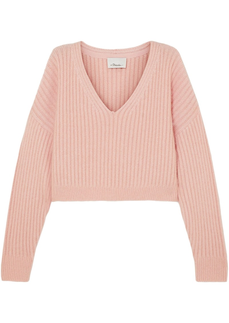 3.1 Phillip Lim Woman Oversized Cropped Ribbed Wool-blend Sweater Pastel Pink
